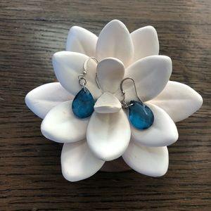 Jewelry - Crystal blue teardrop earrings